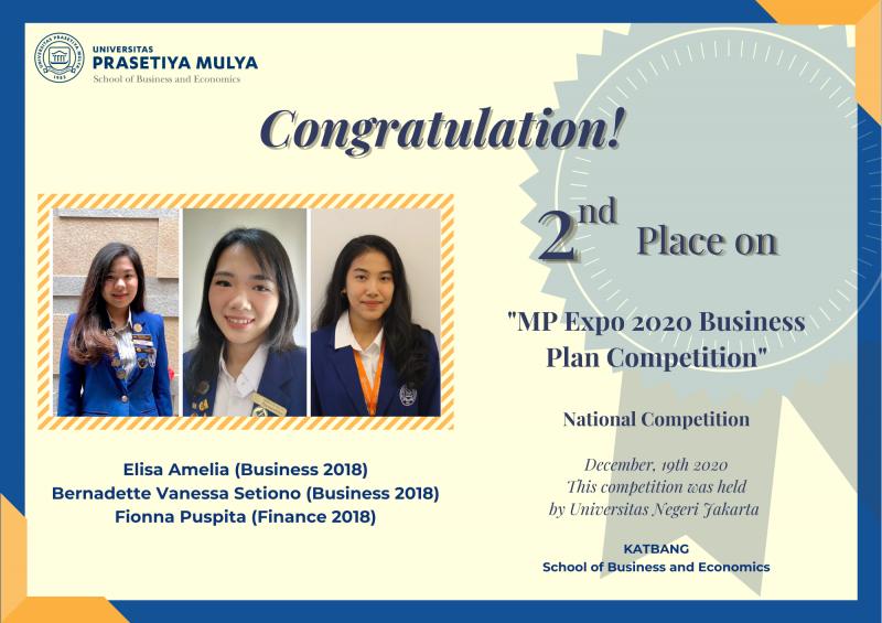 Mahasiswa Sbe Prasmul meraih juara 2 dalam MP Expo 2020 Business Plan Competition Universitas Negeri Jakarta