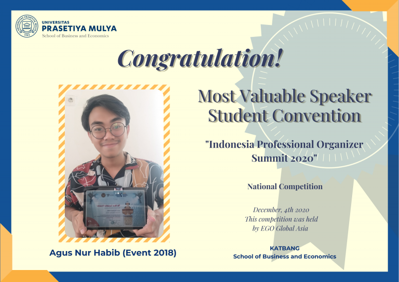 Mahasiswa Sbe Prasmul meraih juara Most Valuable Speaker dalam Indonesian Professional Organizer Summit 2020