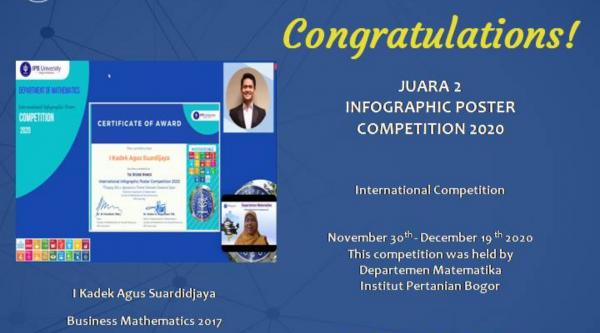 Mahasiswa School of Applied STEM meraih juara pada kompetisi poster infografis 2020 di selenggarakan oleh IPB