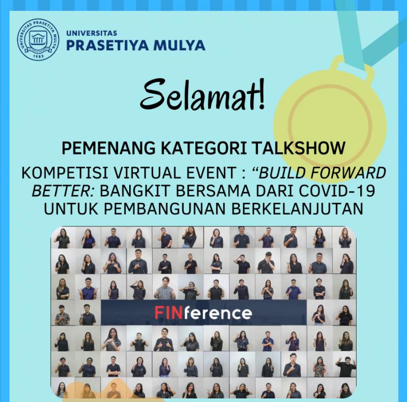 Kepanitian Finference Universitas Prasetiya Mulya memenangkan kompetisi virtual diadakan oleh Kementerian PPN/Bappenas