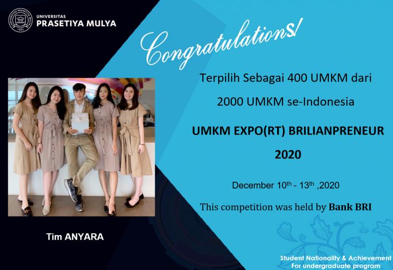 Tim Anyara Universitas Prasetiya Mulya terpilih sebagai 400 UMKM dari 2000 UMKM pada UMKM Expo(rt) Brilianpreneur 2020