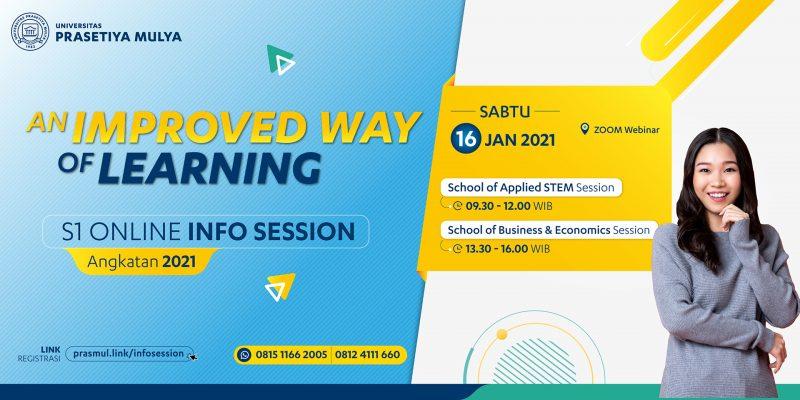 Webbanner Acara Infosession untuk calon mahasiswa S1 Angkatan 2021 fakultas sbe dan stem dengan tema an improve way of learning